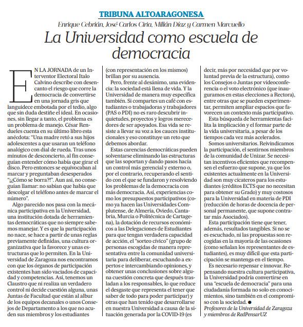 La Universidad como escuela de democracia