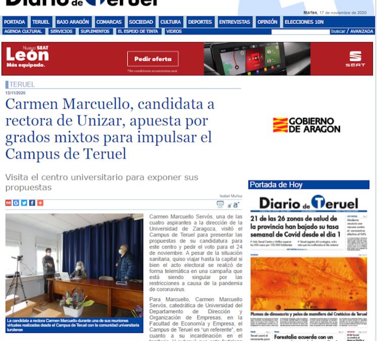 Carmen Marcuello, candidata a rectora de Unizar, apuesta por grados mixtos para impulsar el Campus de Teruel