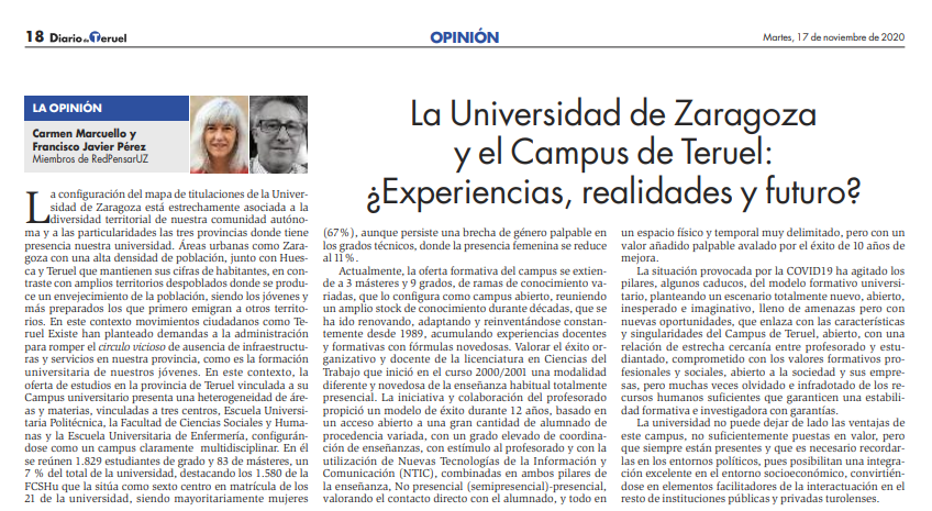 La Universidad de Zaragoza y el Campus de Teruel: ¿Experiencias, realidades y futuro?